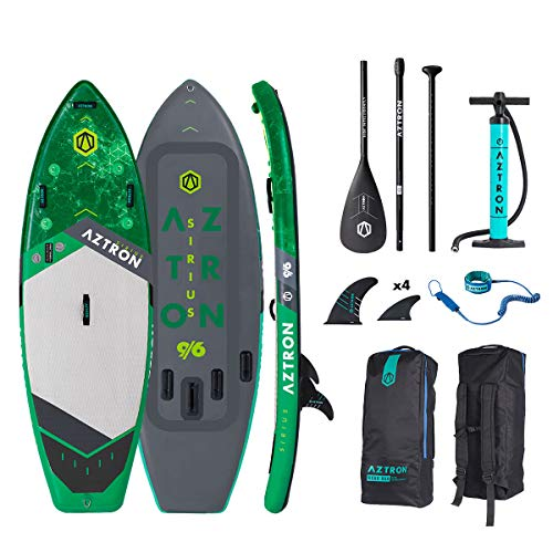 """Aztron Sirius White Water/SURF Inflatable SUP 9'6"""" Double Chamber & Layer with Adjustable Aluminum Paddle and Leash"""