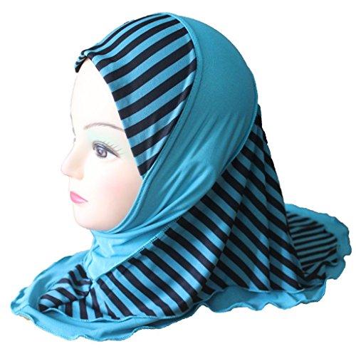 Cogongrass Girls Kids Muslim Hijab Islamic Arab Scarf Shawls Stripe Pattern Double Layers about 45cm (Hemp Layer Double)
