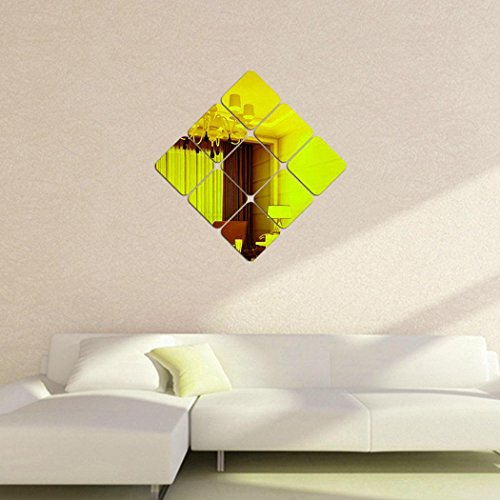 Youcoco Modern Style Decorative Square Mirror Stereo Wall Sticker Bedroom Home Decor by Youcoco (Image #2)