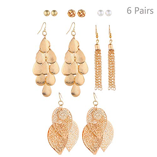 - Jurxy 6 Pairs Gold Tassel Earrings Set Triple Leaf Drop Hook Earrings Pearl Ball Piercing Earrings Set Hollow Earring Making Starter Kit
