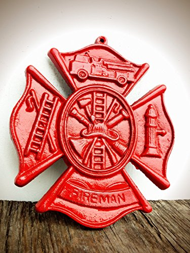 Bright Fire Engine Red Firefighter Maltese Cross Metal Wall Art Hanging – Rustic Fireman Symbol Cast Iron Plaque
