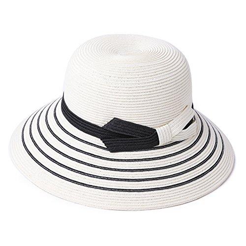 SiggiHat Packable UPF Straw Sunhat Women Summer Beach Wide Brim Fedora Travel Hat Bowknot