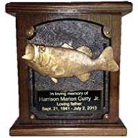Bass Fish Wooden Cremation Urn, Wood Funeral Urns...