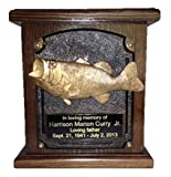 Bass Fish Wooden Cremation Urn, Wood Funeral Urns W/engraving