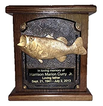 NWA Bass Fish Wooden Cremation Urn, Wood Funeral Urns W Engraving