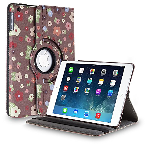TNP Apple iPad 2/3/4 Case (Flower Cartoon)- 360 Degree Rotating Stand Cover PU Leather For iPad 4th Generation with Retina Display, the New iPad 3 & iPad 2 with Auto Sleep Wake Feature & Stylus Holder (Louis Vuitton Ipad 2 Cover)