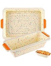Laelr Brödbrödformar i silikon non-stick 2-pack silikon bakform stekpannor ugn rektangel form kakpannor
