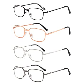 081d177459 4 Pairs Reading Glasses Quality Spring Hinge Readers Men and Women Thin  Rectangular Lens Metal Glasses