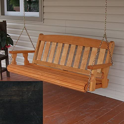 Amish Heavy Duty 800 Lb Mission Treated Porch Swing with Hanging Chains 4 Foot, Dark Walnut Stain