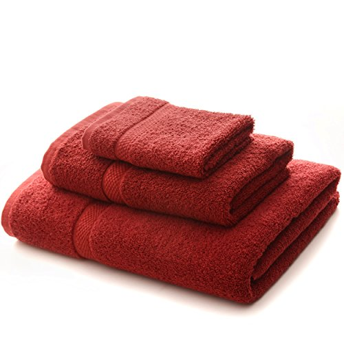 Cheer Collection Luxurious Towel Set - Super Soft and Absorbent 3 Piece Towel Set in Burgundy for Home and Bath (Sets Inexpensive Towel Bath)