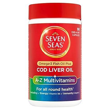 Siete Mares de hígado de bacalao y aceite de vitamina multi Cápsulas 90 por paquete