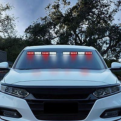 ASPL 32LED Visor Lights 26 Flash Patterns Windshield Emergency Hazard Warning Strobe Beacon Split Mount Deck Dash Lamp With Extend Bracket (Red/White/Red/White): Automotive