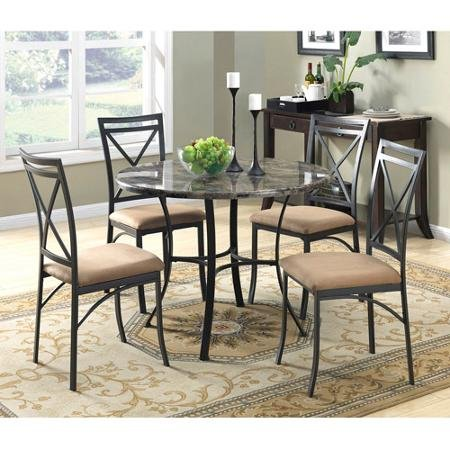 5-Piece Indoor Faux Marble Top Round Metal Table Dining Set With Microfiber Fabric Upholstered Chairs