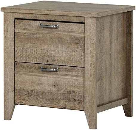 South Shore Lionel 2-Drawer Nightstand, Weathered Oak with Metal Hardware