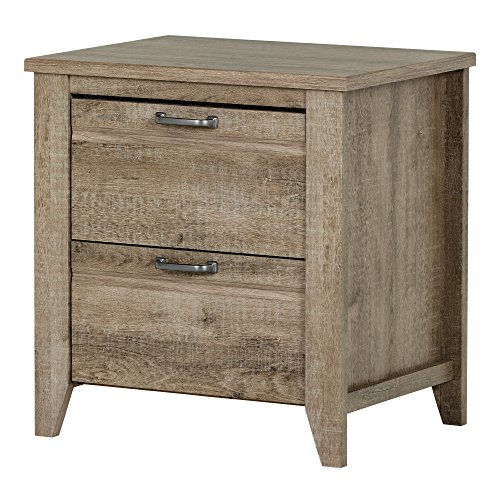 South Shore Lionel 2-Drawer Nightstand, Weathered Oak with Metal Hardware Review