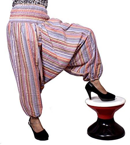 Algodón a Rayas Genie harén pantalones Beggy Gypsy pantalones Yoga tamaño libre Multi-1