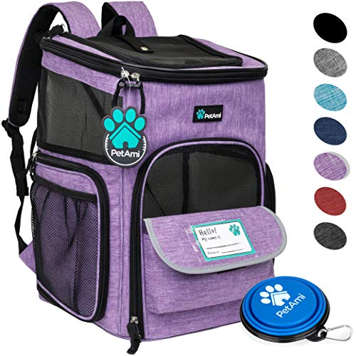 (PetAmi Pet Carrier Backpack for Small Cats, Dogs, Puppies | Ventilated Structured Frame, 4 Way Entry, Safety and Soft Cushion Back Support | Collapsible for Travel, Hiking, Outdoor (Purple))
