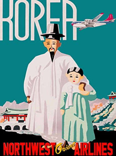A SLICE IN TIME Korea Northwest Orient Airlines Korean Asia Asian Vintage Airline Travel Advertisement Art Poster Print Poster measures 10 x 13.5 inches. - Northwest Orient Airlines