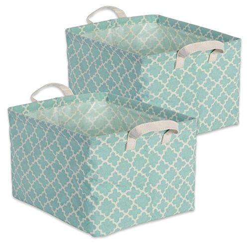 DII Cotton/Polyester Cube Laundry Basket, Perfect In Your Bedroom, Nursery, Dorm, Closet, 10.5 x 13 x 8.5, Medium Set of 2 - Aqua Lattice