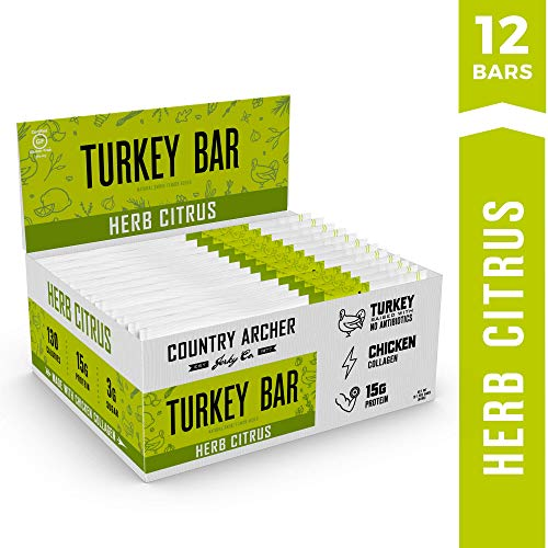 (Herb Citrus Turkey Bar by Country Archer | Antibiotic Free | Collagen Protein | Certified Paleo, Gluten Free | 1.5 Ounce (12 count) )