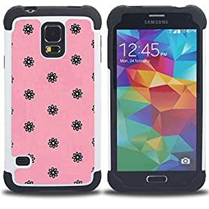 GIFT CHOICE / Defensor Cubierta de protección completa Flexible TPU Silicona + Duro PC Estuche protector Cáscara Funda Caso / Combo Case for Samsung Galaxy S5 V SM-G900 // pink black vintage retro floral wallpaper //