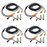 Flashmen 25 ft 4 Pack BNC Video Power Cable Security Camera Wire Cord for CCTV DVR Surveillance System One Cable with 2x BNC to RCA Connectors 2x BNC to BNC Connectors 1x DC Plug Adapter