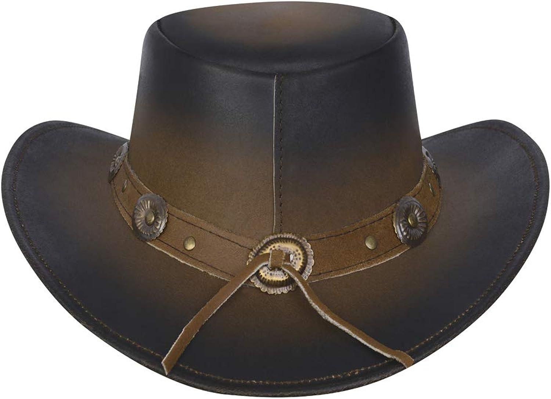 New Leather Cowboy Western Aussie Style Hat Conchos Size S-2XL
