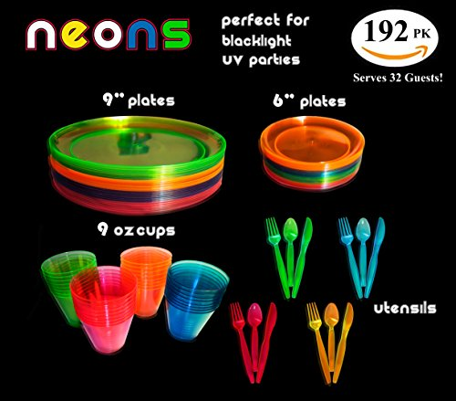 Neon Glow Party Supplies Set, Servers 32, Includes 9 and 6 Inch Plates, 9 OZ Cups, Forks,Spoons, Knives, 32 of Each, Perfect for Blacklight UV (Neon Colored Party Supplies)