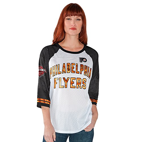 GIII For Her NHL Philadelphia Flyers Women's All Star Mesh Top, XX-Large, White/Black
