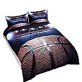 Sookie 3D Basketball Duvet Cover Set Full/Queen Size, 3pcs Bedding Set for Sports Style Teen Boys (1 Duvet Cover 2 Pillow Shams)