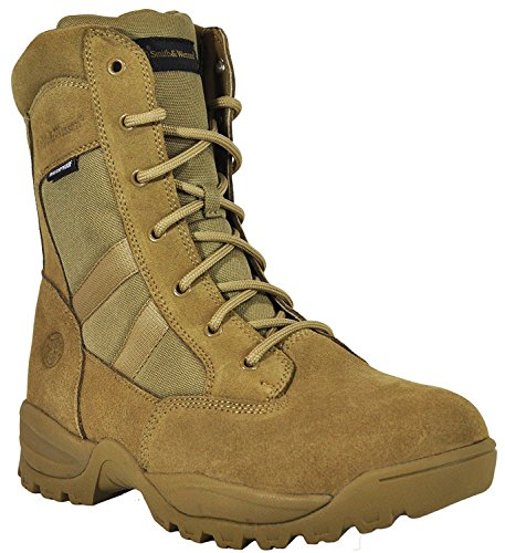 Smith & Wesson Men's Breach 2.0 Tactical Waterproof Side Zip Boots, Coyote, (Leather Side Zip Fashion Boots)
