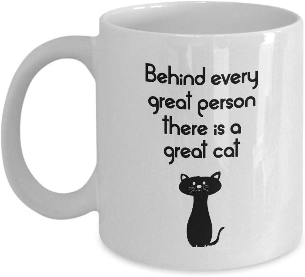 Detrás de cada gran persona hay una gran taza de gato, una mujer loca de gato, una divertida taza de café de cerámica, una taza de té @ B: Amazon.es: Hogar