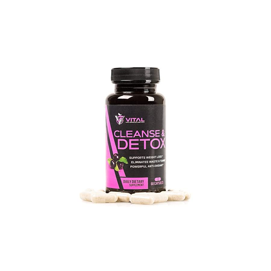 Vital Acai Cleanse & Detox Toxin Flush: Best Clean Colon, Liver & Kidney Daily Herbal Cleanser Natural Supplements for Weight Loss Premium Pure Colonic, Bowel and Intestinal Cleansing: 60 Caps