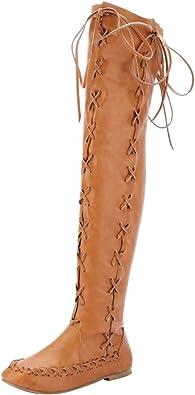 Bottes cuissardes femmes plates cuissardes talon bas lacets souples taille
