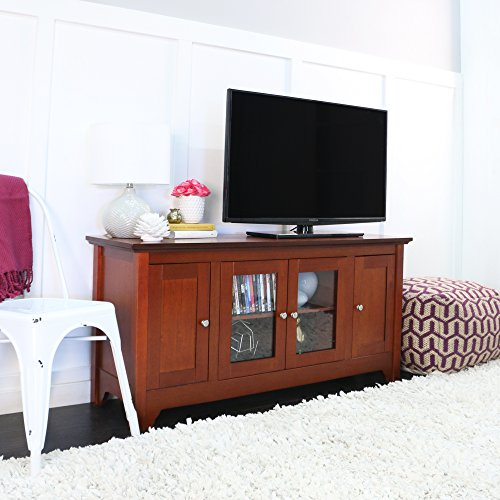 52'' Wood and Glass TV Console with 4 Doors, Mahogany Finish, Extra Storage by Home Accent Furnishings
