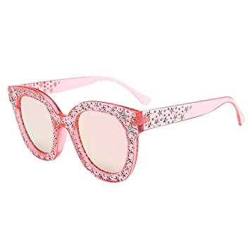 1b966a85d33 Fheaven Womens Fashion Artificial Diamond Cat Ear Quadrate Big Metal Frame  Brand Classic Sunglasses (CS