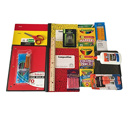Back to School Supplies Bundle Includes Crayola Markers/Colored Pencils/Crayons, Elmers Glue/Glue Stick, Composition Books Wide Ruled, Pencil Box, Five Star Folders and more.