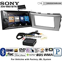 Volunteer Audio Sony XAV-W651BTN Double Din Radio Install Kit with Bluetooth, Pandora, iPhone Control, USB, AUX, Navigation For 2007-2011 Toyota Camry with Amplified System (Silver)