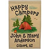 Happy Campers Personalized Tent Campsite Sign, Garden Flag, Customize Your Way, Flag Only (Red Tent)