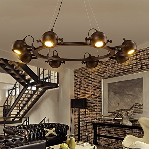 Wagon Wheel Lighting (Aiwen Creative Black Lamps Cafe Bars Wrought Iron Chandeliers Creative Retro Lighting Large)