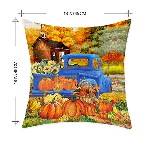 """Bonsai Tree Fall Pillow Covers, Happy Fall Yall Autumn Pumpkin Leaves Couch Throw Pillow Covers 18""""x18"""", Thanksgiving Red Blue Truck Harvest Cotton Linen Pillow Cases Home Decor for Sofa Set of 4"""