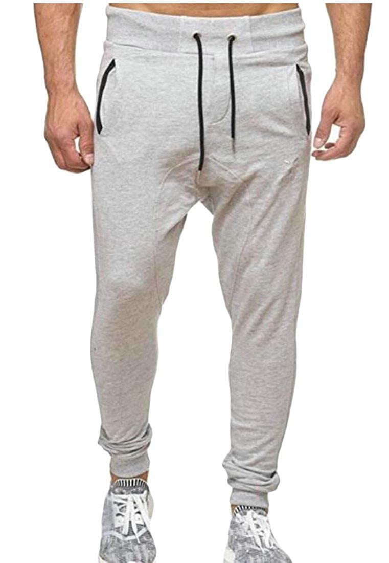 Qiangjinjiu Men Drawstring Comfort Soft Harem Jogging Pants Trousers