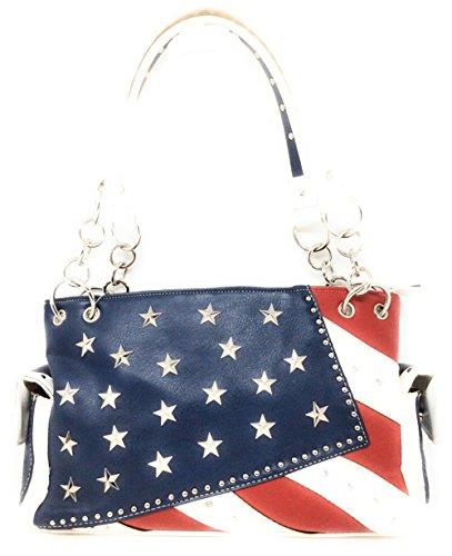 American Purse (Western Concealed Carry Rhinestone American Flag Women's Handbag purse. (White))