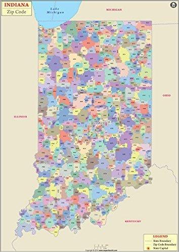 Indiana Zip Code Map Amazon.: Indiana Zip Code Map (36