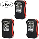 LED Work Light Flashlight for Camping, Home, Emergency Kit, Auto, DIY & More! Ultra-Bright Flood Light w/ FREE Batteries - Makes a Great Gift! (3-Pack Red)