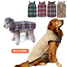 Ablingling Outdoor Waterproof Both Sides Available Pet Clothing Style Grid of England, Winter Dog Jacket Shepherd Small Large Dogs Coat (XXL, beige)