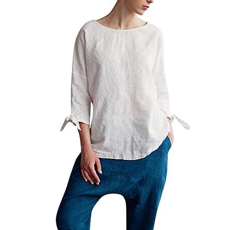 AiBarle - Kimono de algodón con Cuello Redondo para Mujer, con ...