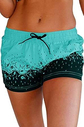 Aleumdr Womens Floret Printed Wide Waistband Swim Shorts Trunks Tankini Bottoms Boyshort Swimsuit Panty Small Size Green