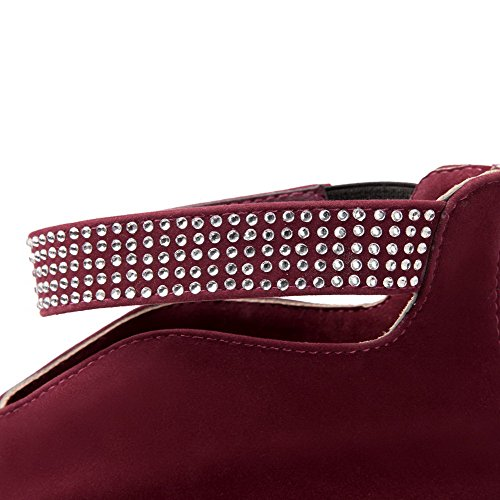 AgooLar Womens Low-Top Solid Zipper Round Closed Toe High-Heels Boots Claret NTIJP