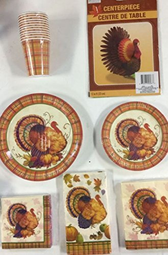 Thanksgiving Fall Turkey Party Package of 8 Guests - Includes Dinner Plates, Dessert Plates, Beverage Napkins, Lunchon Napkins, Cups, Table Cover and FREE ! Thanksgiving Fall Turkey Centerpiece ()